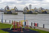 Thames Barrier and a Childs Playground