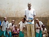 African children teacher in school. Kenya. Mombasa. January 25, 2012