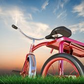 foto of tricycle  - illustration of a red tricycle on green grass - JPG