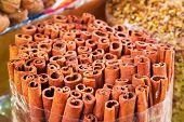 Cinnamon sticks on the Deira market of Dubai, UAE