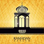 Stylish intricate arabic lantern on shiny yellow background for for holy month of Muslim community Ramadan Kareem.