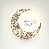 Beautiful crescent moon decorated with floral design and stylish text Jashn-e-Eid for Muslim communi