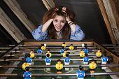 Girl At Table Football