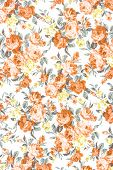 Orange Rose Fabric Background, Fragment Of Colorful Retro Tapestry Textile Pattern With Floral Ornam