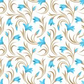 stock photo of gladiolus  - Vector seamless pattern with blue gladiolus flowers and beige leaves on a white background - JPG