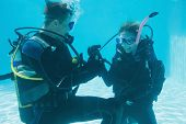 pic of propose  - Man proposing marriage to his shocked girlfriend underwater in scuba gear on their holidays - JPG