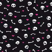 Cartoon Skulls with Hearts on Black Background Seamless Pattern