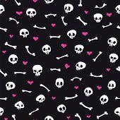 Cartoon Skulls with Hearts on Black Background Seamless Pattern