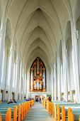 REYKJAVIK, ICELAND - AUGUST 31, 2013: Interior of Hallgrimskirkja church in the heart of Reykjavik,