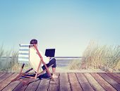 picture of serenity  - Businessman Working by the Beach - JPG