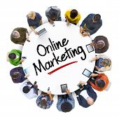 Multiethnic Group of Business People with Online Marketing