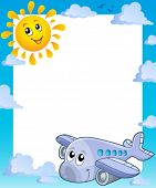 Summer frame with sun and airplane - eps10 vector illustration.