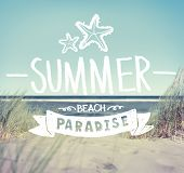 stock photo of shoreline  - Summer Quote on Beach Background - JPG