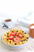 Breakfast - Cornflakes With  Strawberries And Blueberries