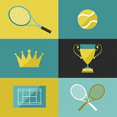 Tennis icon set in flat design style.