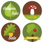 stock photo of toadstools  - Autumn sale labels with leaves - JPG