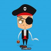 Vector Boy With Pirate Halloween Costume Isolated