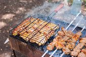 Appetizing Fresh Meat Kebab Prepared On A Grill Wood Coal