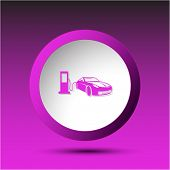 Car fueling. Plastic button. Raster illustration.