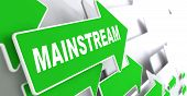 Mainstream on Direction Sign - Green Arrow.