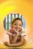 Young Girl At Playground Smiling