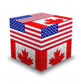 Usa & Canada Flags Puzzle Box