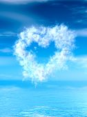 Heart shape cloud lingering over water surface