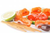 fresh smoked salmon slices on white with olives