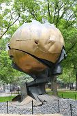 World Trade Center Sphere damaged at September 11 in Battery Park