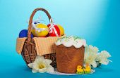 Eggs in a basket, an Easter cake, and bouquet