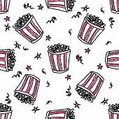stock photo of pop star  - Seamless vector pattern with doodle pop corn backets and stars - JPG
