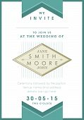 Wedding invitation green ribbon theme