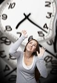 Time Pressure On A Woman With Grey Background