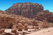 stock photo of petra jordan  - Beautiful red rock formations in Petra Jordan - JPG