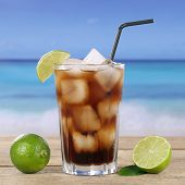 Cola Or Cuba Libre Cocktail On The Beach