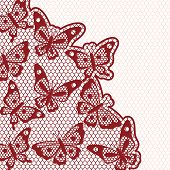Vintage fashion lace ornament background with butterflies.
