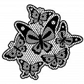 Black lace design with butterflies isolated on white.