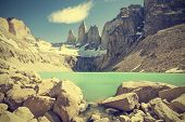 Torres Del Paine Mountains And Lake In Chile, Patagonia, Vintage Retro Filter.
