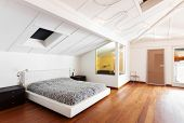 interior loft, nice bedroom, double bed
