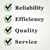 stock photo of clientele  - Vector illustration of service quality reliability and efficiency - JPG