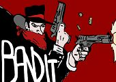foto of bandit  - Image of a Bandit with hat and guns - JPG