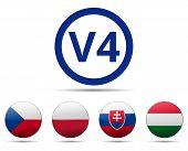V4 Visegrad Group Country Flag