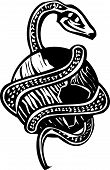 foto of serpent  - Woodcut style image of the Norse myth of the Midgard serpent wrapping the earth - JPG