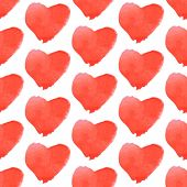Aquarell Heart, Vector Vintage Seamless Pattern