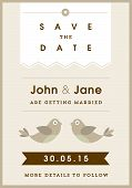 Save the date invitation gold love bird theme