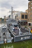 LONDON, UK - MAY 17, 2014  German army military ships based in Canary Wharf aria, to be open for pub