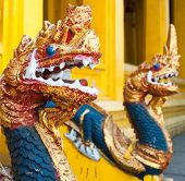 Dragon heads in Buddhist temple in Vientiane, Laos