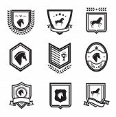 image of mustang  - horse badges emblems equestrian vector illustration black - JPG