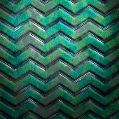 Metal template background with zig-zag stripe
