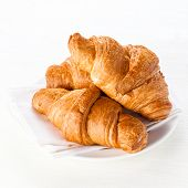 picture of croissant  - breakfast with baked Croissants on white background - JPG